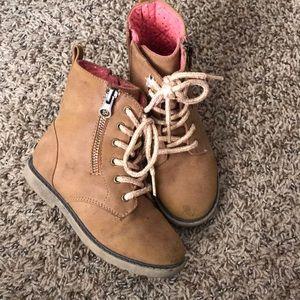 Girls tan combat boots